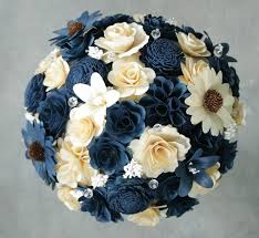 wood flowers navy blue and ivory wedding bouquets and boutonnieres made of