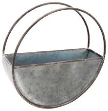 foreside round metal flower pot industrial outdoor pots and