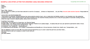 Machine Operator Sample Resume by Armored Cable Machine Operator Offer Letter
