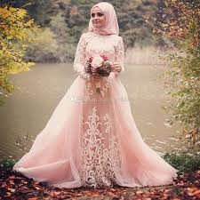 wedding dress for muslim muslim lace applique sleeves blush pink capped tulle