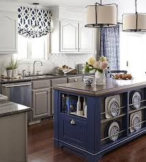 blue kitchen island with oak cabinets colorful kitchen islands better homes gardens