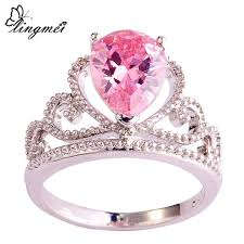 ring size 9 aliexpress buy lingmei fashion crown princess aaa multi