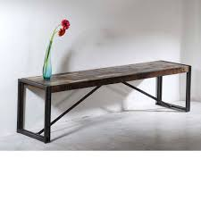 Esszimmerbank Oval Sitzbank Holzbank Bank Antik Holz Metall Designer Industrie Möbel