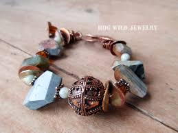 gemstone bead bracelet images Handcrafted artisan women 39 s jasper gemstone copper bali bead jpg