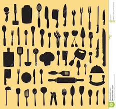Yellow Kitchen Accessories by Kitchen Utensils Silhouette Vector Royalty Free Stock Photography