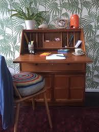 brass key secretary desk vintage retro solid teak lockable nathan bureau writing desk