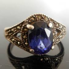 vintage sterling silver art deco ring with blue sapphire and