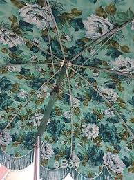 Vinyl Patio Umbrella Excellent Vintage Vinyl Turquoise Flower Patio Umbrella Fringe