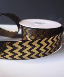 black and gold ribbon gold metallic chevron on black ribbon