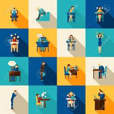 jeu de travail au bureau les gens dans la frustration débordés avec des icônes de travail de