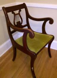 vintage duncan phyfe lyre harp back mahogany dining room captains