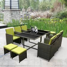 Green Dining Room Chairs by Green Ikayaa 11pcs 10 Seater Rattan Patio Garden Dining Table