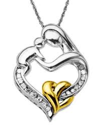 mothers pendant and infant diamond pendant necklace in 14k gold and