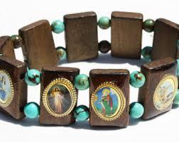 catholic bracelets mexican catholic bracelet saints charm elastic stretch wooden