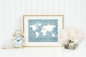 travel theme decor blue floral world map print map from istria design
