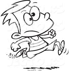 vector of a cartoon boy running track coloring page outline by