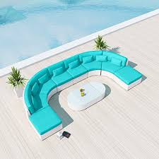 new uduka vienna 9pcs outdoor turquoise round sectional patio