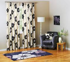 floral black and cream window curtain in peaceful living space