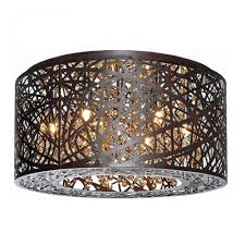 Crystal Flush Mount Lighting 7 Lights Bird Nest 16