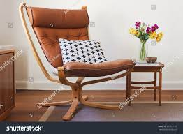 Retro Table Retro Tan Leather Chair Side Table Stock Photo 251975176