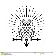 owl line icon stock vector image 63309067
