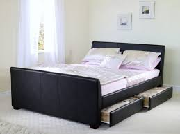 Leather Bed Frame Queen Queen Size Bed Frame Furniture Brown Wooden With Headboard Storage