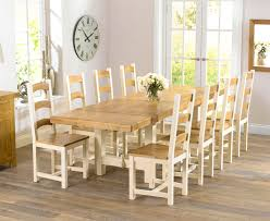 Natural Wood Dining Table Wood And White Dining Chairs Large - Cream kitchen table