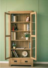 Solid Wood Bookcases With Glass Doors Bookcases Living Room Furniture Home Furniture White Oak Solid