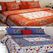 Cotton Single Bed Sheets Online India Uniqchoice Set Of 2 Rajasthani King Size Cotton Bedsheets With 4