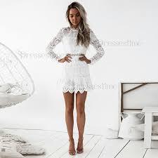 white lace dress sheath neck sleeves keyhole white lace homecoming