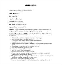 control operator sample resume machine operator resume machine