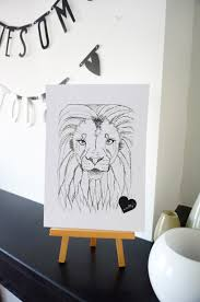lion print lewis the lion print a4 scribbly heart