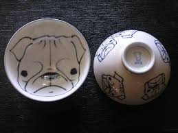 japanese ceramic pug design rice bowl 4 5 inch x 3 inch pearl