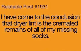socks dryer lint quotes dump a day