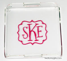 personalized trays clear square acrylic tray with vinyl monogram