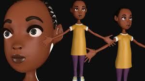 artstation 3d model of a black character random chijioke