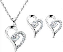 white gold necklace set images 18ct white gold plated heart necklace and earrings set free gift jpg
