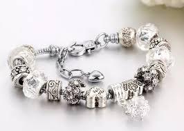 pandora silver snake bracelet images Silver snake charm bracelet european murano glass crystal beads 20cm f png