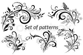 set of vintage calligraphic elements floral patterns and