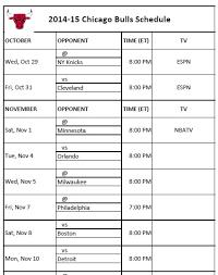 printable bulls schedule chicago bulls printable schedule for 2014 15