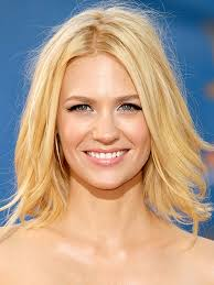 medium length piecy hair january jones shoulder length hair piecey and longer in front
