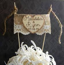 burlap cake toppers shabby chic wedding cake toppers time for the holidays