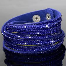 rhinestone bracelet images Stylish leather wrap wristband cuff punk crystal rhinestone jpg