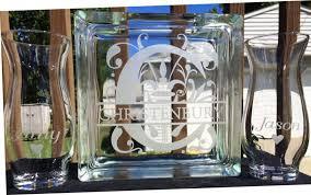 Sand Vases For Wedding Ceremony Personalized Glass Block Sand Ceremony Set Split Regal