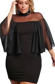 plus size mesh semi sheer night mini dress flare half sleeve