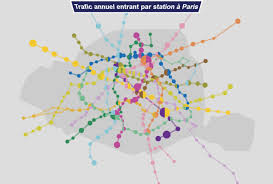 Metro Paris Map by Unofficial Interactive Map Annual Passenger Transit Maps