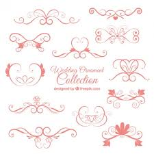 pink wedding ornament collection vector free