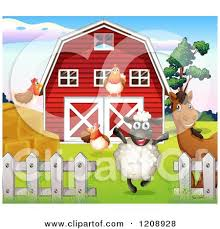 A Cartoon Barn Cartoon Of A Happy Black Sheep And Horse With Chickens By A Barn