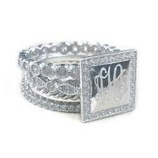 monogrammed silver ring sterling silver square cz rimmed monogram stacking ring be