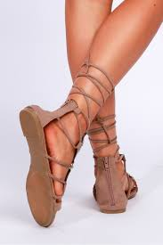 lace up gladiator sandals taupe